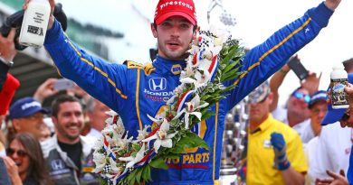 May 29, 2016; Indianapolis, IN, USA; IndyCar Series driver Alexander Rossi celebrates after winning the 100th running of the Indianapolis 500 at Indianapolis Motor Speedway. Mandatory Credit: Mark J. Rebilas-USA TODAY Sports ORG XMIT: USATSI-267816 ORIG FILE ID:  20160529_jla_su5_203.jpg