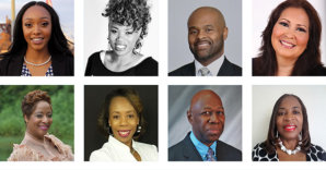 Top, left to right: Charrisha Watkins, Felicia Johnson, Lionel Shipman, Lupe Moreno Botton, left to right: Shandale Smith, Carole Gilmore, Donell Edwards, Dr. Monica Y. Jackson